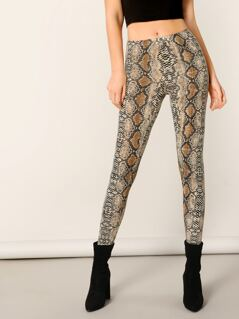 Snake Print Stretch Knit Leggings