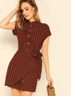 Rolled Cuff Overlap Knot Front Striped Shirt Dress