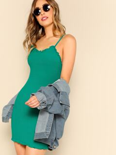 Lettuce Edge Ribbed Cami Dress