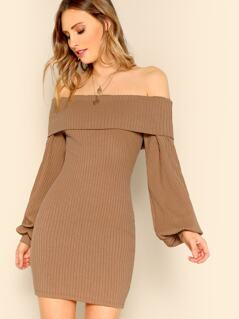 Foldover Front Off Shoulder Lantern Sleeve Rib-knit Dress