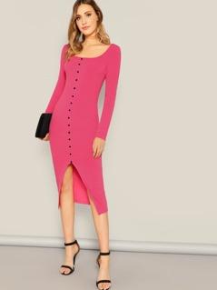Neon Pink Button Front Rib Knit Split Dress