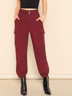 Pocket Side Buckle Belted Pants