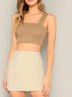 Frayed Edge Zip Side Skirt