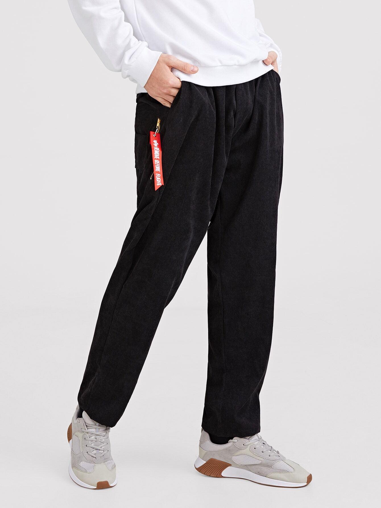Купить Одноцветный на кулиске Черный Мужские брюки, Valerian, SheIn