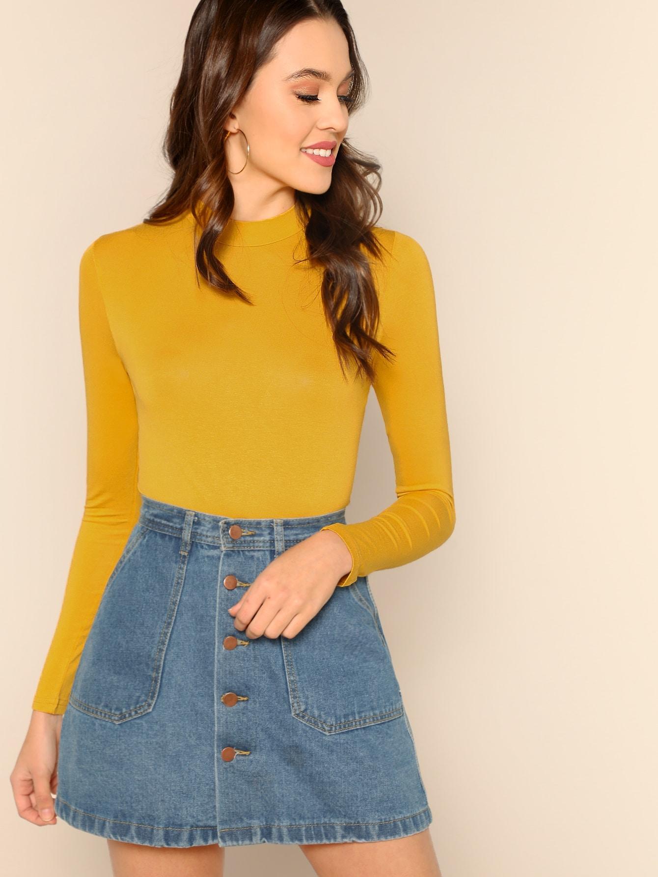Купить Жёлтый Одноцветный Элегантный стиль Футболки, Katie Fitzsimmons, SheIn