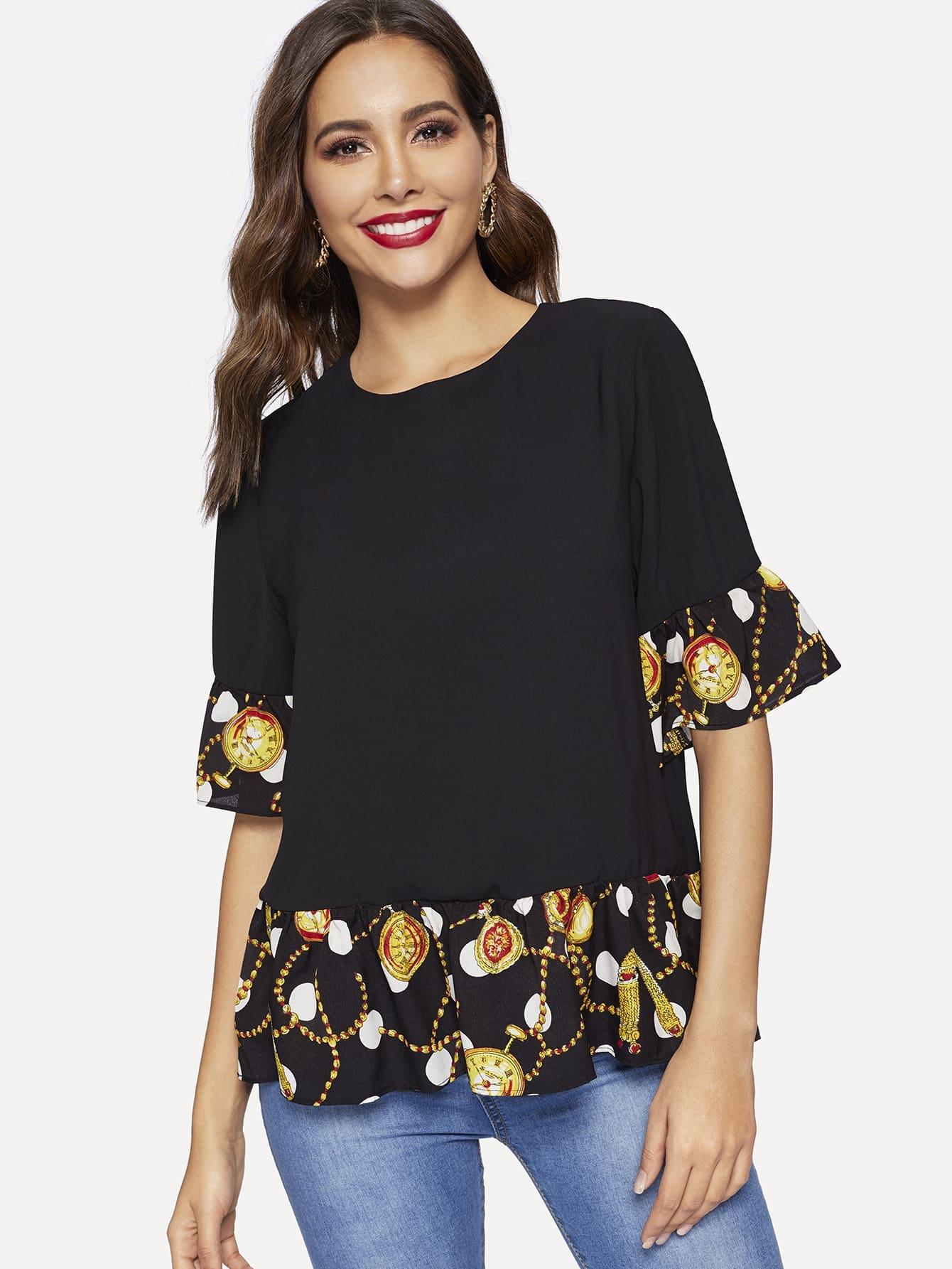 Купить Блуза с оборками на рукавах и контрастным графическим принтом, Giulia, SheIn