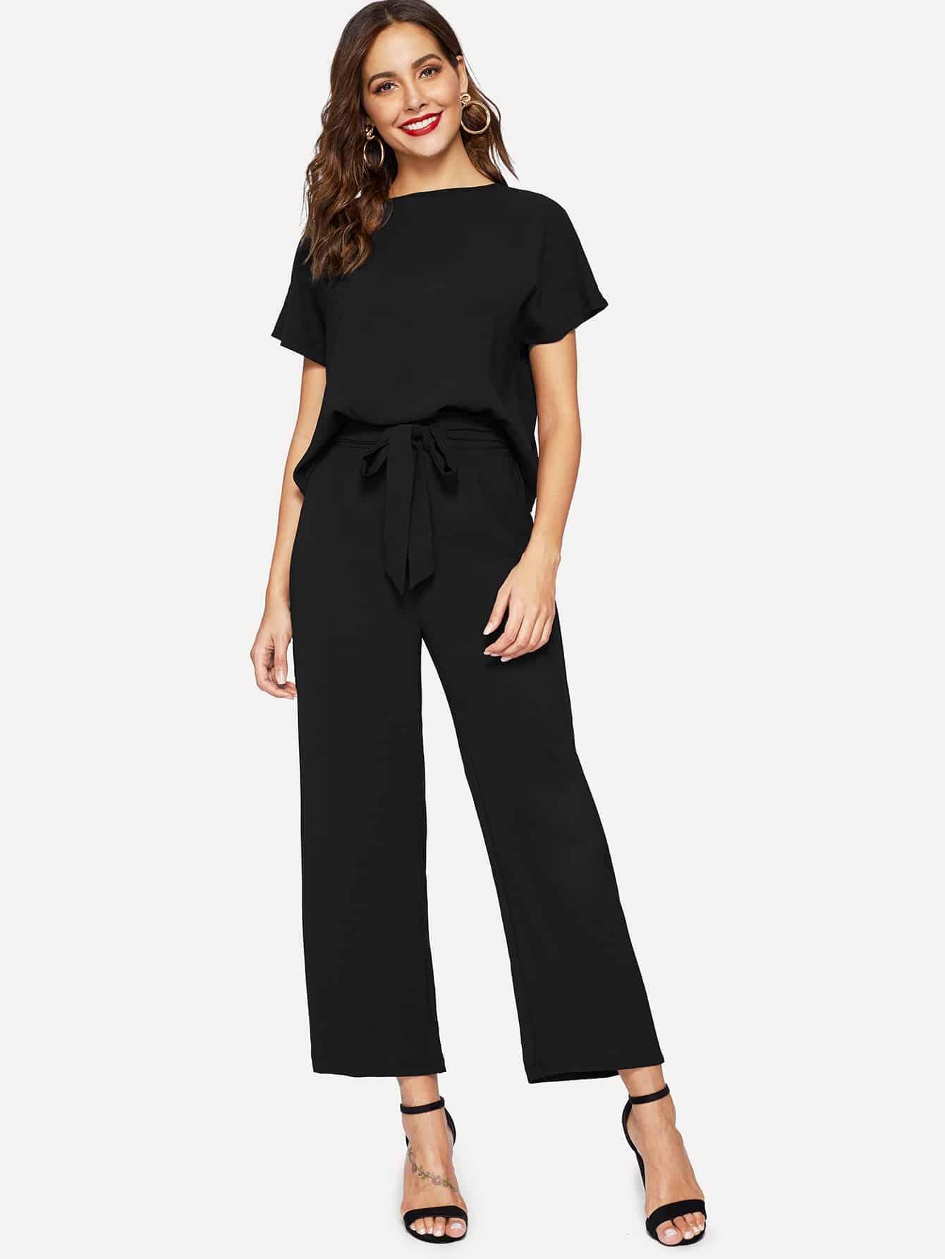Купить Однотонная блуза и широкие брюки с поясом, Giulia, SheIn