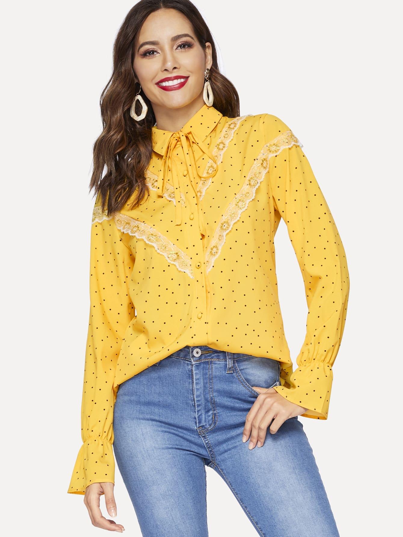 Купить Рубашка в горошек с завязкой на шее и оборками на рукавах, Giulia, SheIn