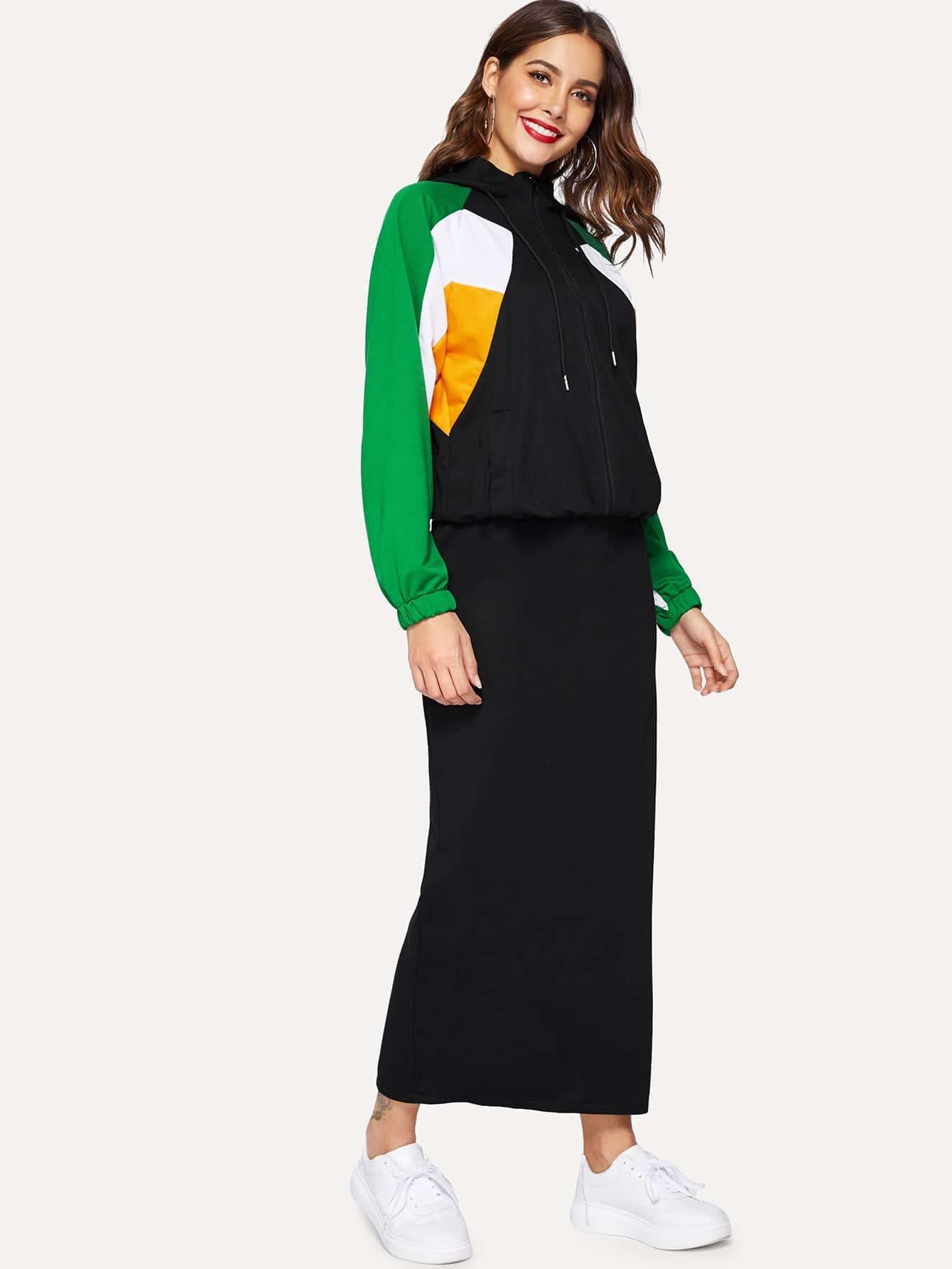 Купить Контрастная толстовка и юбка с разрезом сзади, Giulia, SheIn
