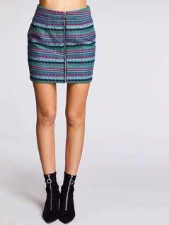 Zip Up Geo Jacquard Skirt