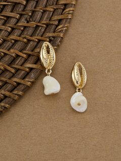 Puke Shell With Pearl Accent Dangle Earrings