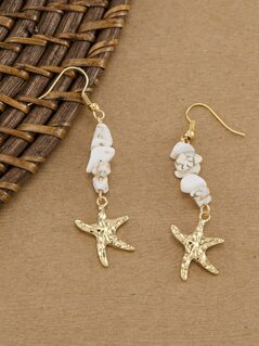 Stone Detail With Starfish Charm Dangling Earrings