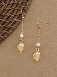 Shell With Pearl Accent Dangling Earrings