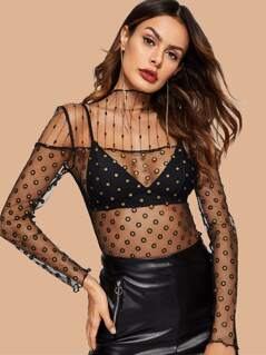 Lettuce Trim Sheer Mesh Top Without Bra