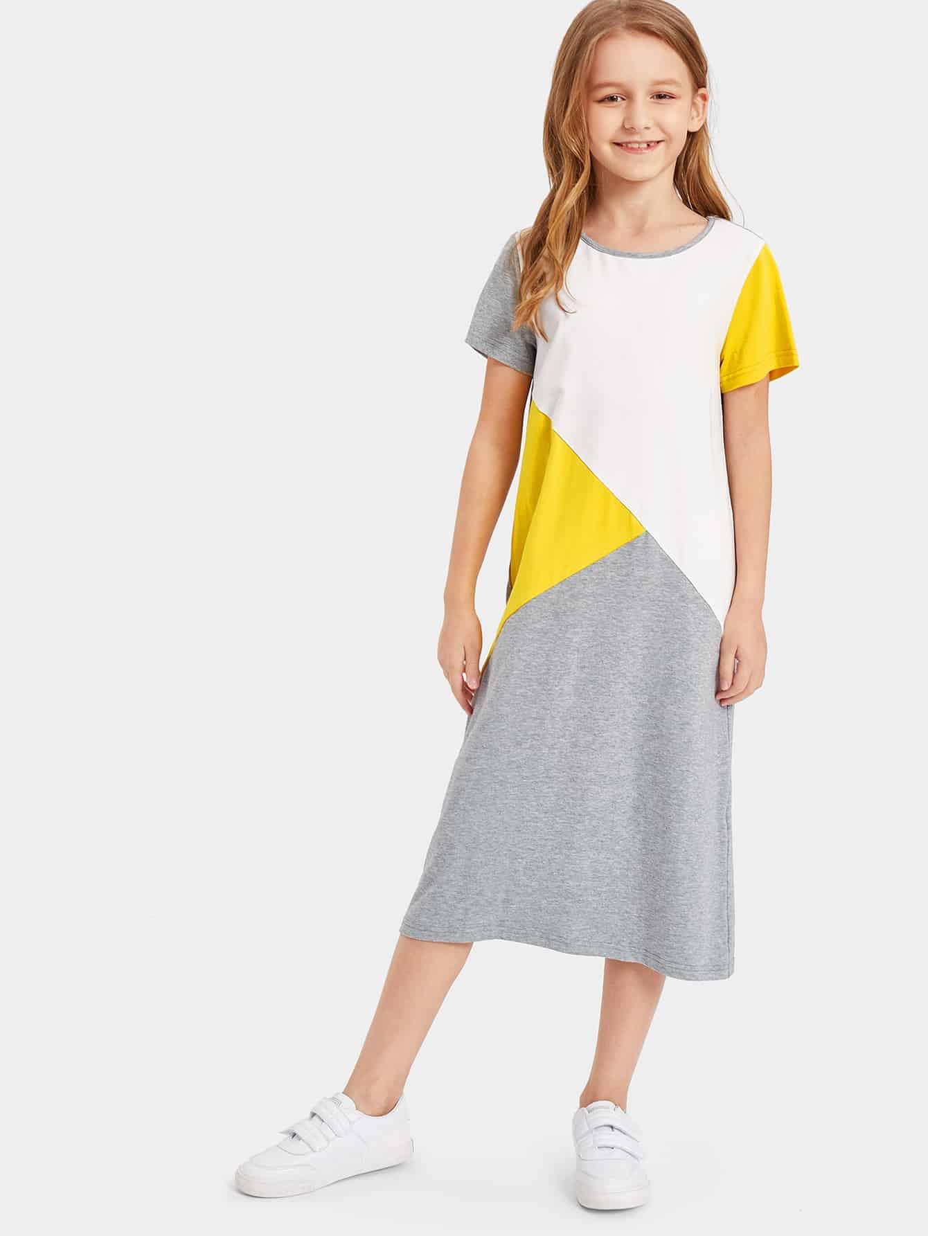 Контрастное платье-туника для девочек от SheIn
