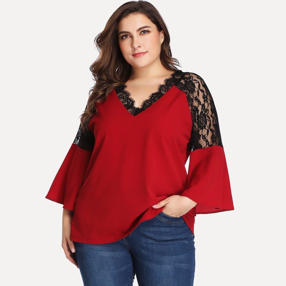 Bordeaux Elegant Grote maten blouses Contract kant