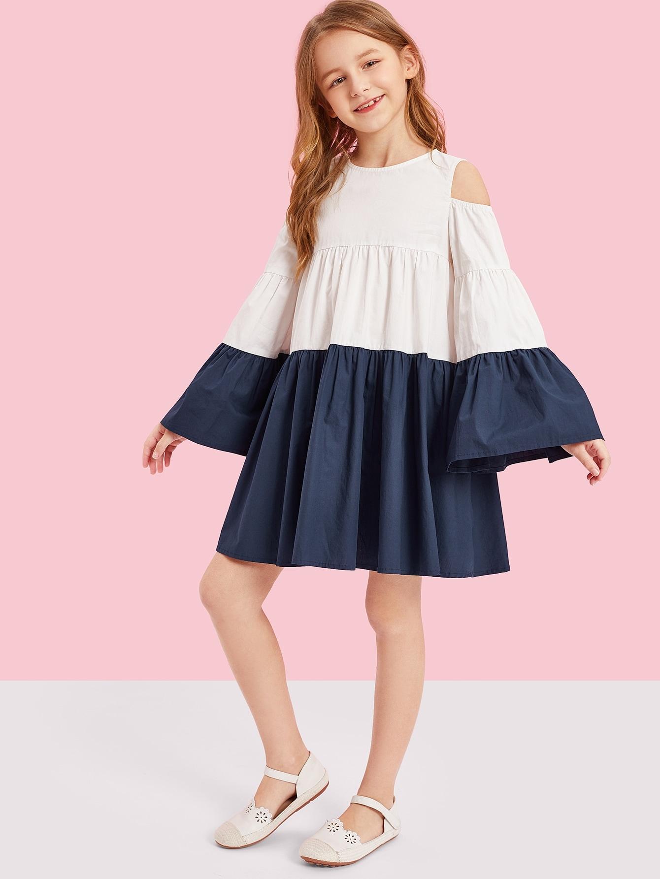 Купить Контрастное платье с открытыми плечами для девочек, Sashab, SheIn