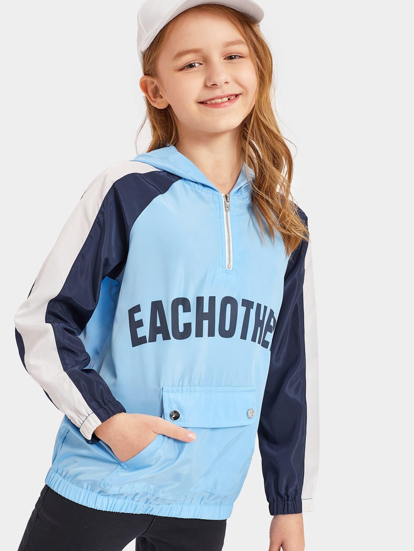 Контрастная куртка на молнии с капюшоном и рукавом-регланом для девочек, Sashab, SheIn  - купить со скидкой
