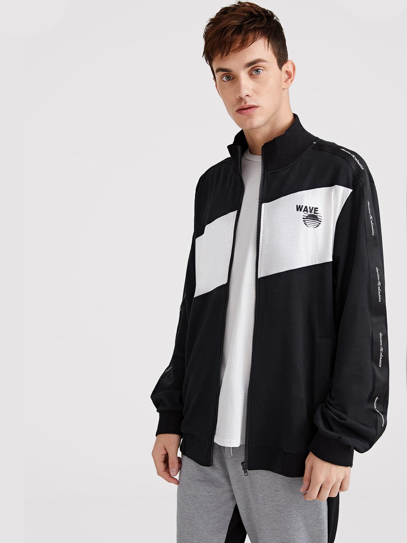 Купить Мужская контрастная куртка на молнии с текстовым и графическим принтом, Valerian, SheIn