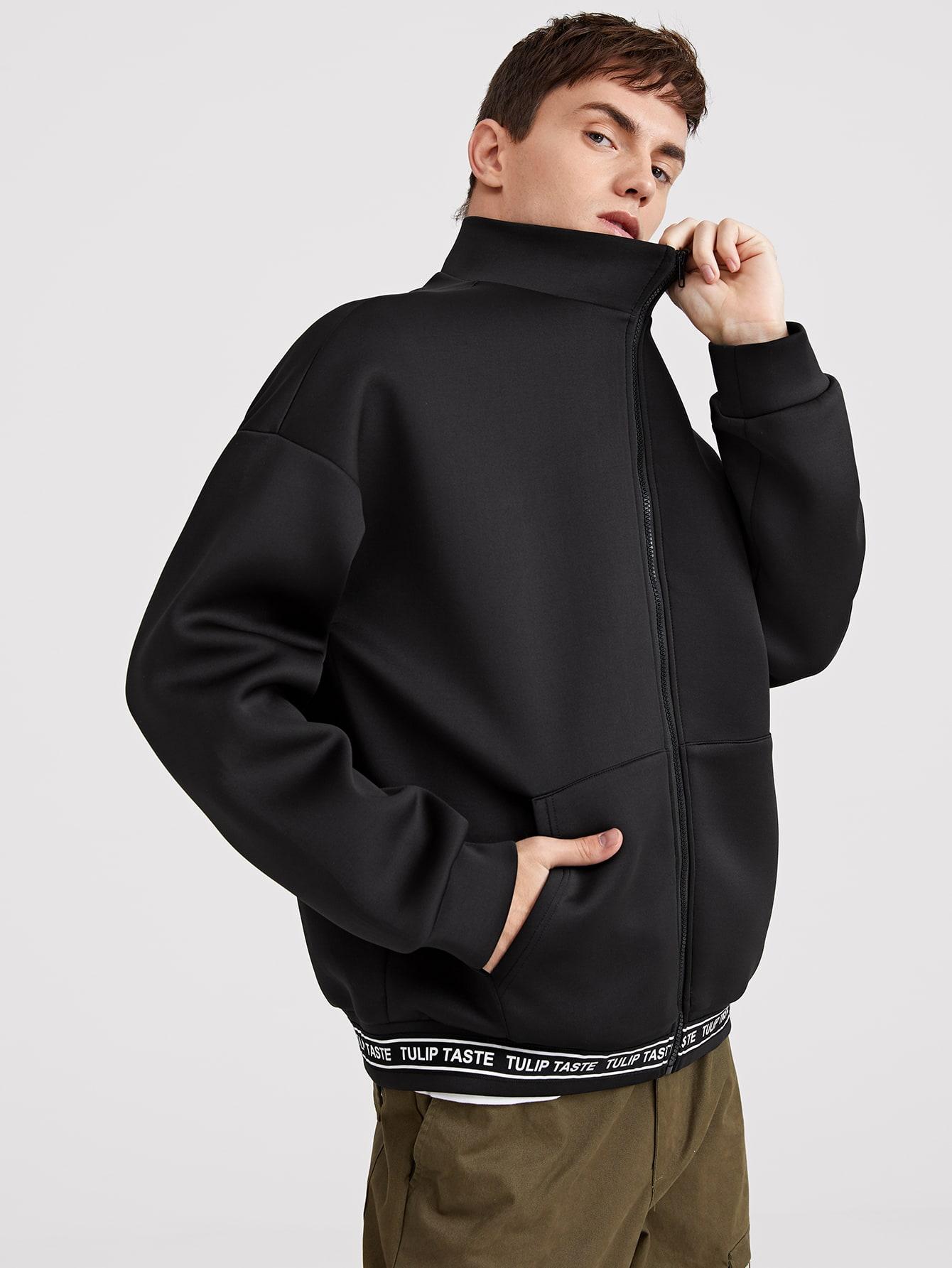 Купить Мужская куртка на молнии с текстовой лентой, Valerian, SheIn