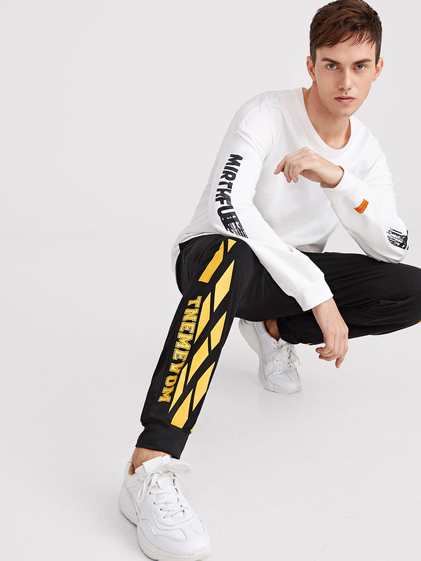 Мужские брюки с текстовым принтом, Valerian, SheIn  - купить со скидкой