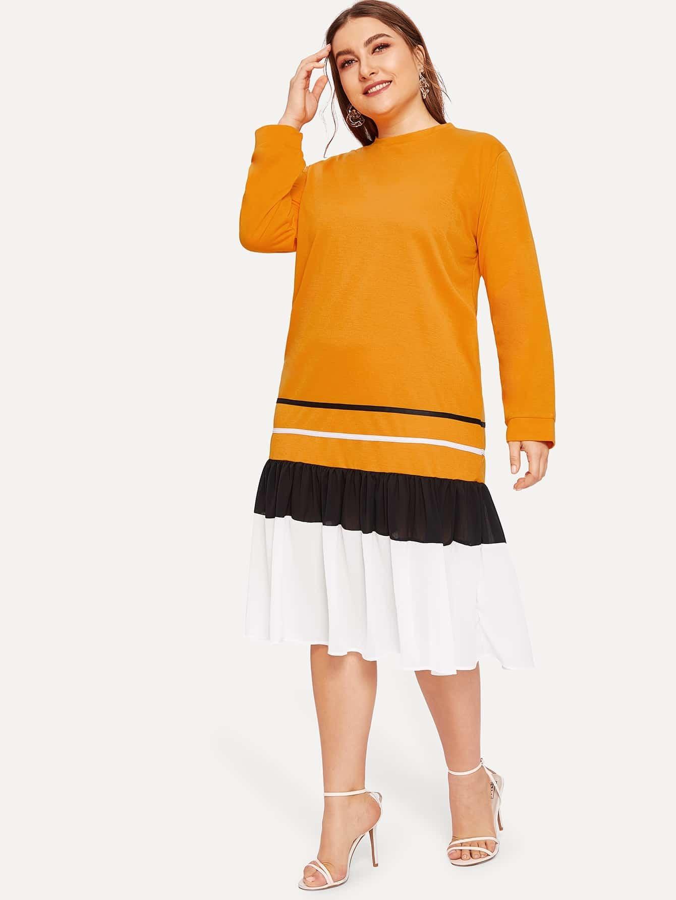 Размера плюс контрастное платье с полосками и оборками