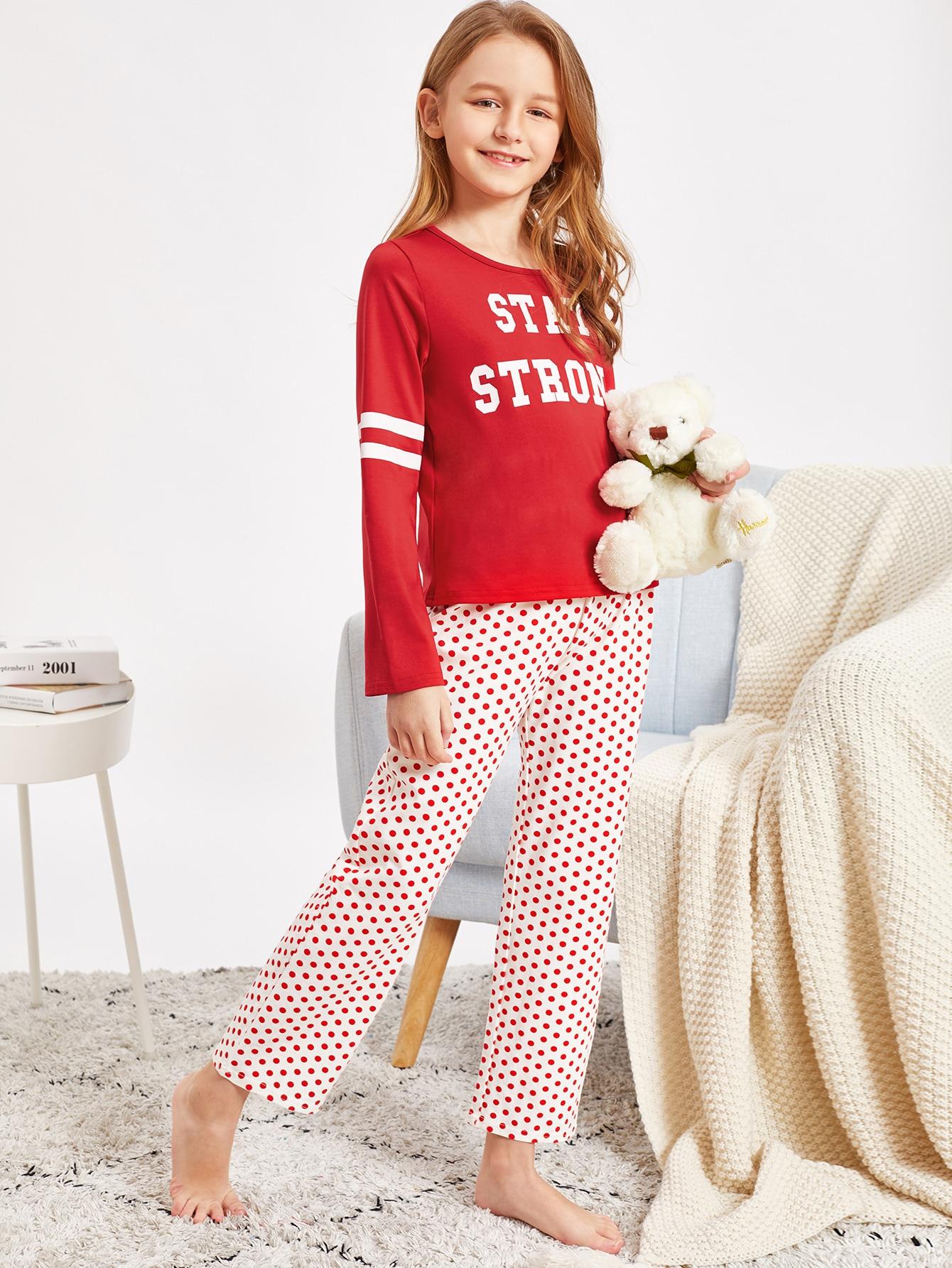 Купить Пижамный комплект топ с текстовым принтом и брюки в горошек для девочек, Sashab, SheIn