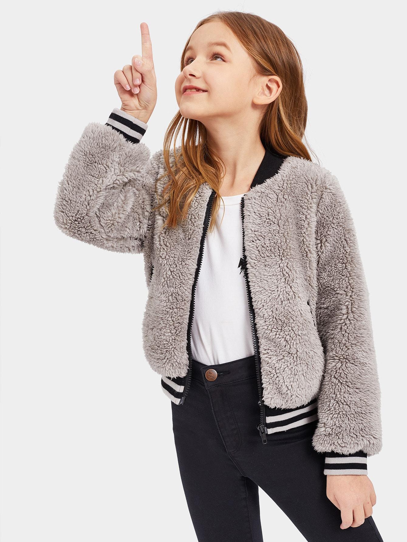 Купить Куртка на молнии из искусственного меха с полосатыми манжетами для девочек, Sashab, SheIn