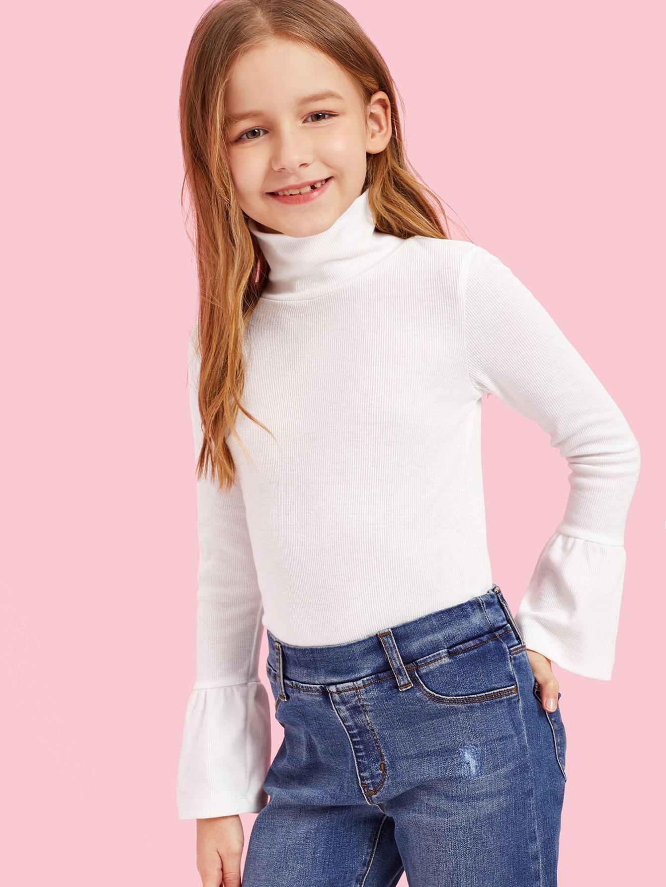 Купить Рельефный-вязаный топ с завязкой на шее и оборками на рукавах для девочек, Sashab, SheIn