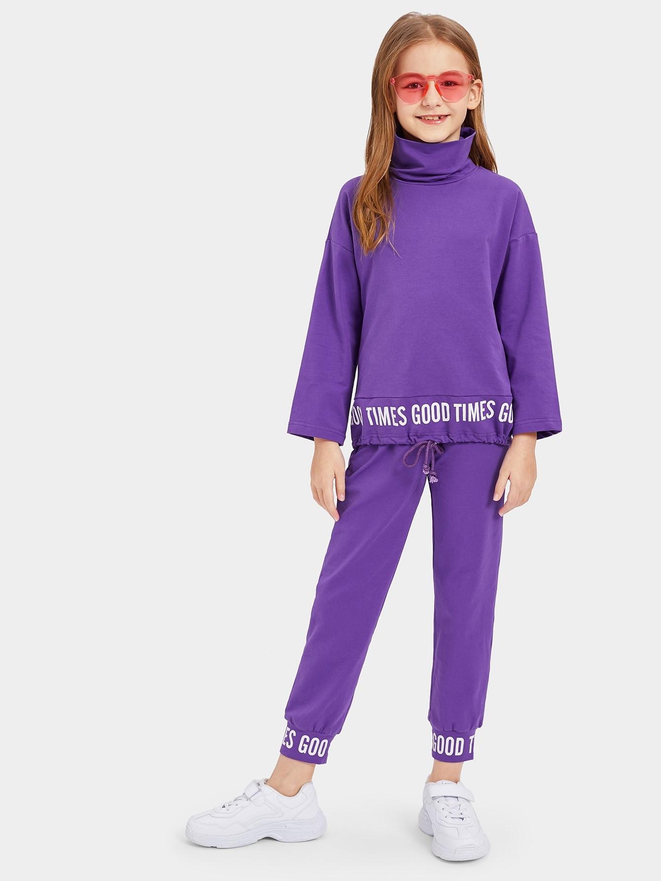 Топ с высоким вырезом и текстовым принтом и спортивные брюки для девочек от SheIn