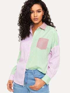 Drop Shoulder Colorblock Striped Blouse