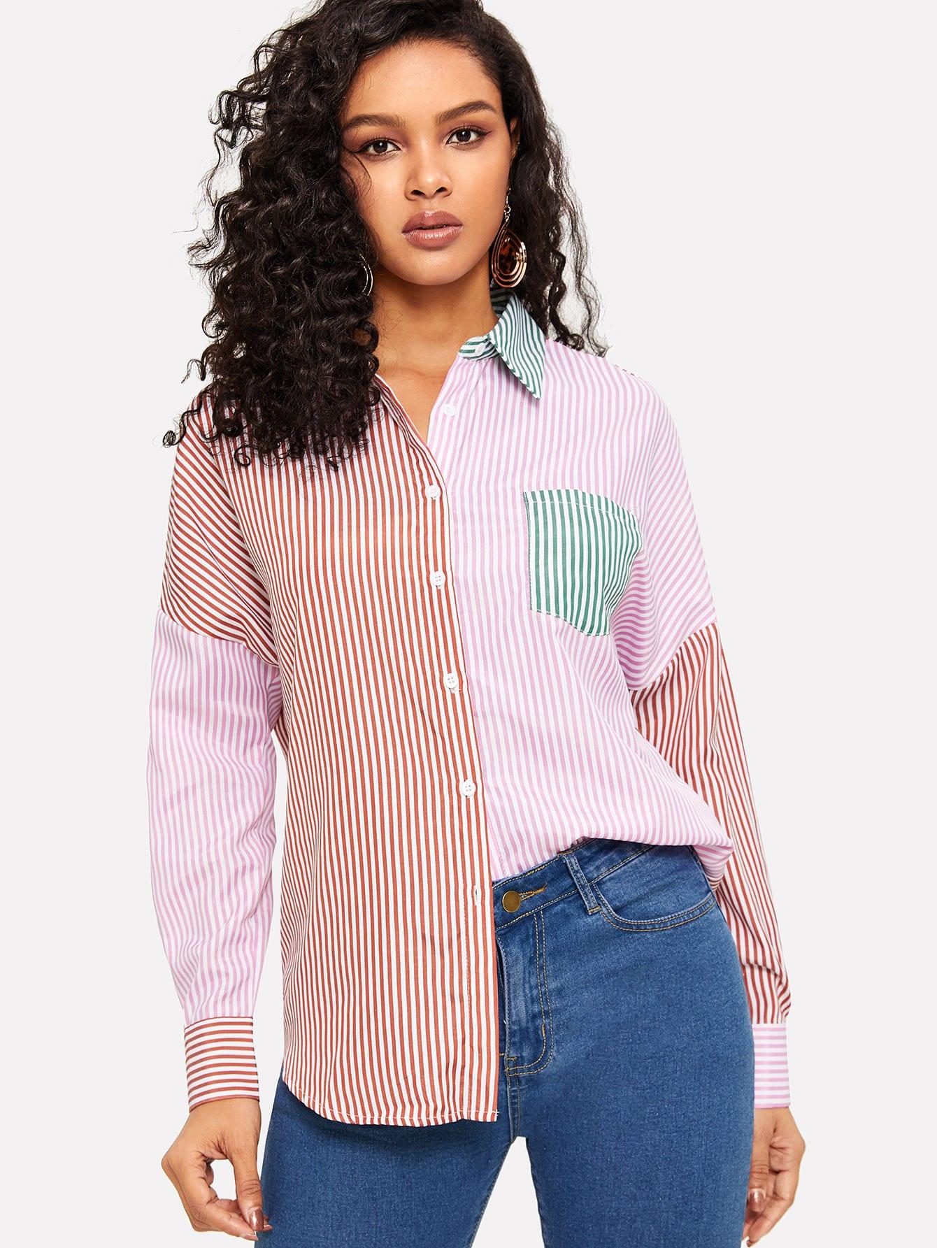 Купить Контрастная рубашка в полоску с карманом, Gigi, SheIn