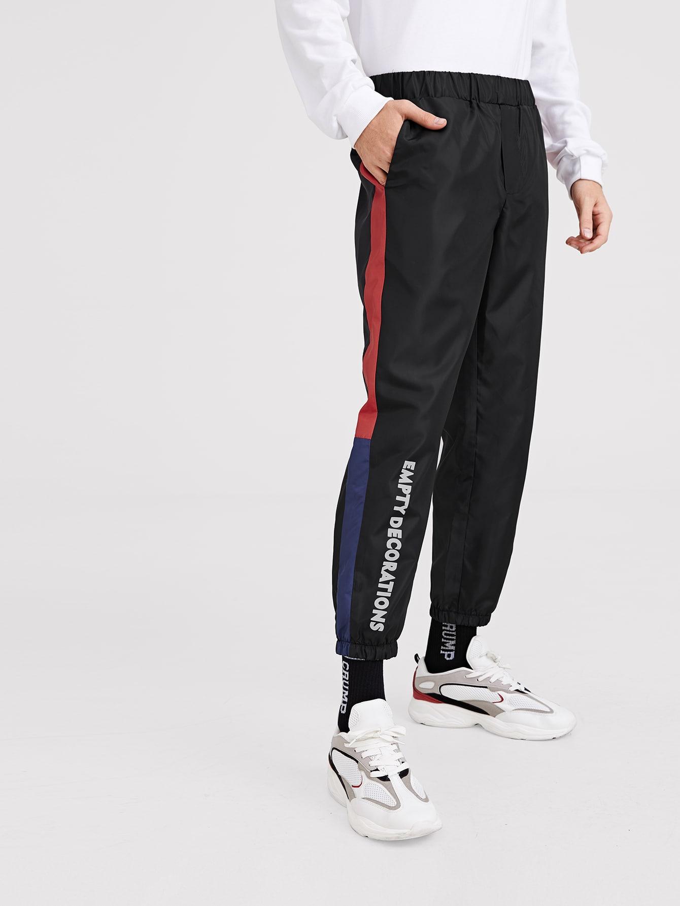 Купить Мужские контрастные брюки-галифе с текстовым принтом, Valerian, SheIn