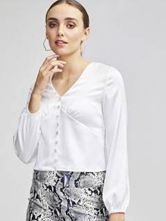 Buttoned Front Pleated Satin Blouse