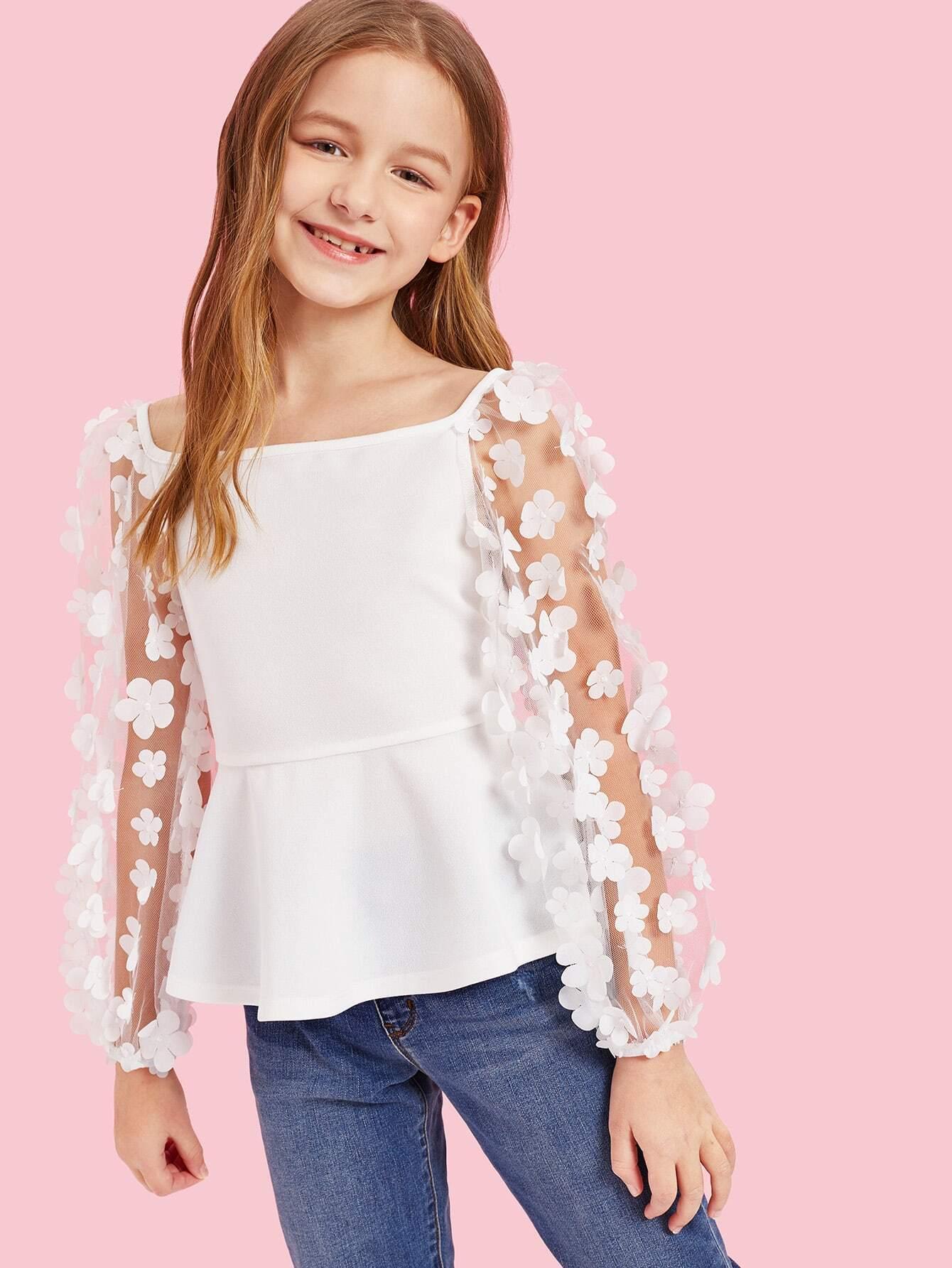 Купить Топ с сетчатыми рукавами и аппликацией цветы для девочек, Sasha, SheIn