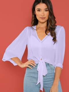 Bell Sleeve Tie Hem Sheer Crop Top