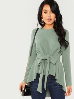 Tie-waist High-low Solid Blouse