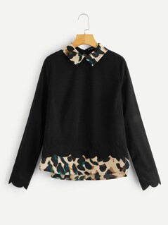Scallop Trim 2 in 1 Leopard Blouse