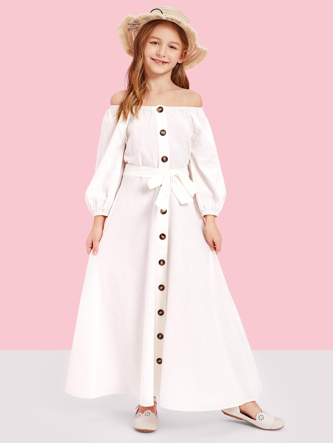 Купить Платье с открытыми плечами и поясом для девочек, Sasha, SheIn