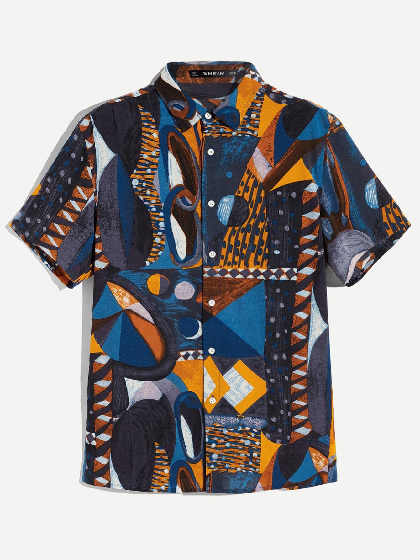 Купить Мужская рубашка с коротким рукавом и графическим принтом, null, SheIn
