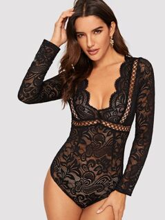 Plunging Neck Cutout Knot Back Lace Bodysuit