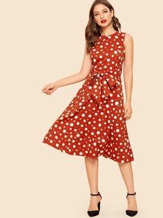Waist Belted Polka Dot Dress