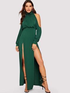 Cold Shoulder Bishop Sleeve M-Slit Dress