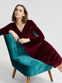 Wrap Front Ruched Velvet Dress