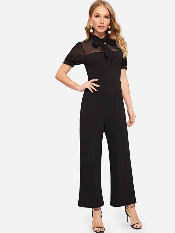 c5880cdc863 Tie Neck Mesh Yoke Wide Leg Tailored Jumpsuit