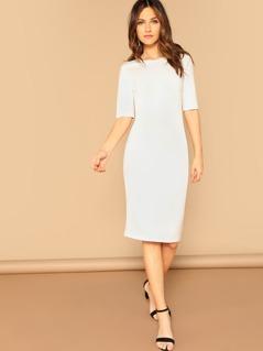 Slit Hem Solid Pencil Dress