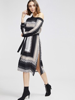 Asymmetrical Shoulder Belted Split Scarf Print Dress