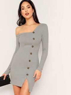 Asymmetric Neck Button Through Ribbed Dress