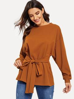 Drop Shoulder Batwing Sleeve Knotted Top