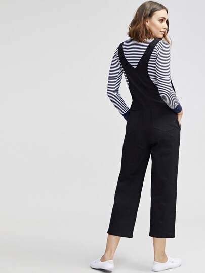 SheIn / Pocket Patched Crop Pinafore Jumpsuit